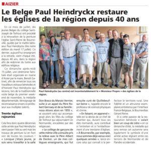 Paul Heindryckx et Benoît Gatinet entourés des jeunes bénévoles Belges - Article du journal l'Eveil